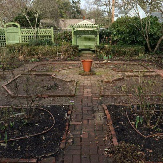 brick path to bench