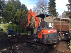 Once the shed was moved across the reserve garden the contractor started removing the pad