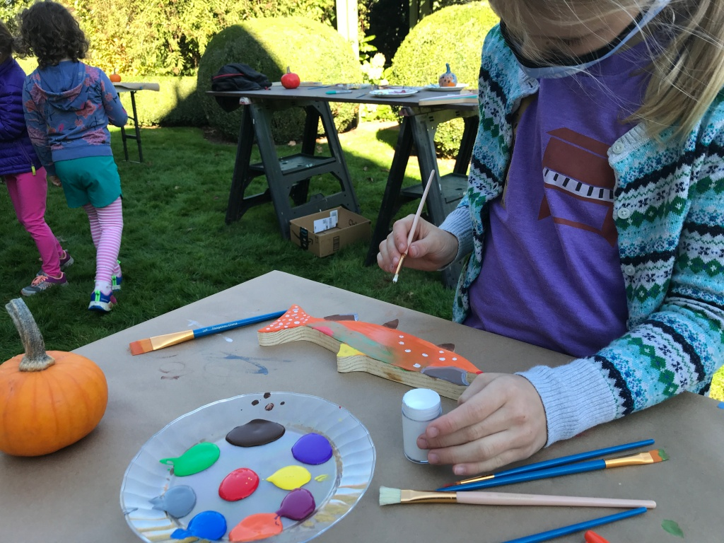 Hard at work on art in the garden